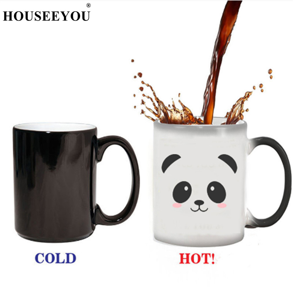 Creative Cute Panda Pattern Round Thermal Transfer Color Changing Single Layer Mug Cup Home Office Bar Restaurant Teacup Gift