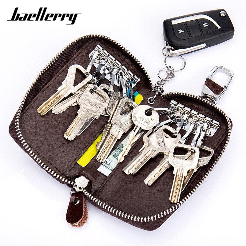 Large Capacity Genuine Leather Men Key Holder Wallet Key Chain Zipper Male Car Keys Cover Organizer Case Man Key Bag Key Wallets     - title=