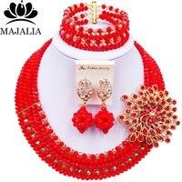 Majalia Red and Gold ab Crystal Beaded Pretty African Jewelery Set Nigerian Wedding Clothing Jewelery Sets 5ST004
