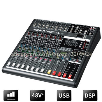Professional Karaoke Audio Sound Mixer 8 Channel Microphone Mixing Amplifier Console With USB Built-in 48V Phantom Power
