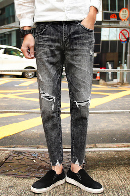 Hole New Fashion Men Casual Jeans pant Slim Straight High Elasticity Feet Jeans Loose Waist Long Trousers hot sale trouses