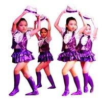 Modern çocuklar çocuklar için mor çağdaş dans kostümleri caz dans kostümleri hip hop kostüm çocuklar için kız sahne kostüm