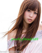 Wholesale heat resistant LY free shipping New Fashion Long Light Brown neat bang Straight cosplay Wig