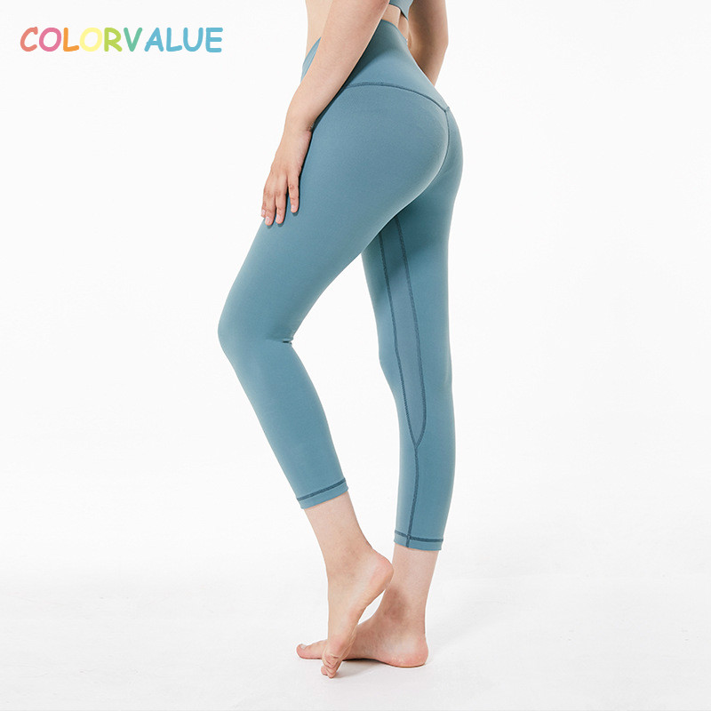 Colorvalue 4-Way Stretchy Sport Yoga Capri Pants Women Soft Nylon Tummy Control Fitness Leggings Squatproof Wrokout Gym Tights colorvalue solid sport fitness leggings women high stretchy yoga pants nylon mesh gym athletic leggings with triangle crotch