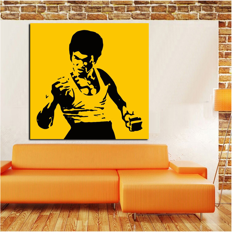 HD Print Pop Art Famous Bruce Lee Oil Painting on Canvas Art Kungfu ...