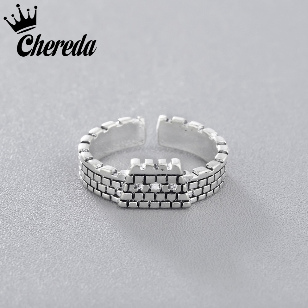 Chereda New Arrival Vintage Women Men Ring City Wall Shape For Lady Fashion Opening Adjustable Rings Jewelry Fine Accessories