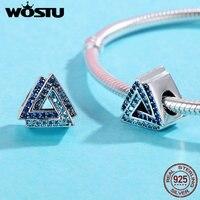 WOSTU Otantik 925 Gümüş Deniz Mavi Zirkon Açacağı Üçgen Charm BKC404 Orijinal Bilezik Tasarım Takı Yapımı için Fit