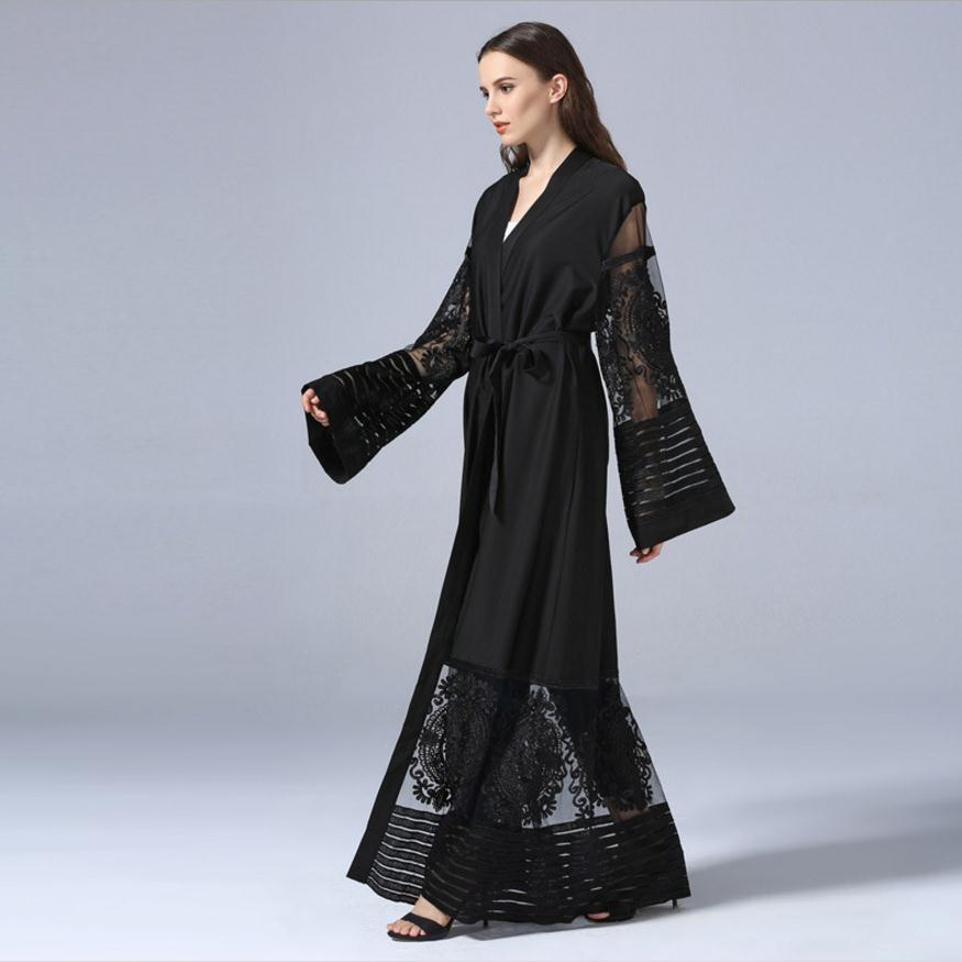 Fashion Muslim Adult lace hollow cut Robe Musulmane Turkish Dubai Abaya Muslim Robe Arab Worship Service wj1340 with blet