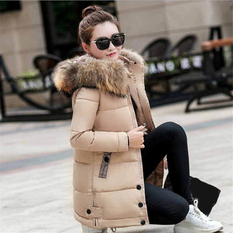 Image 5 - Winter Jacket Women Big Fur Hooded Parka Long Coats Cotton Padded Ladies Winter Coat Women Warm Thicken Jaqueta Feminina Inverno-in Parkas from Women's Clothing