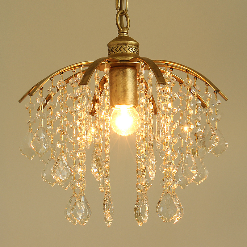 Pastoral style Korean wrought iron Branches crystal pendant light bedroom dining room lampPastoral style Korean wrought iron Branches crystal pendant light bedroom dining room lamp