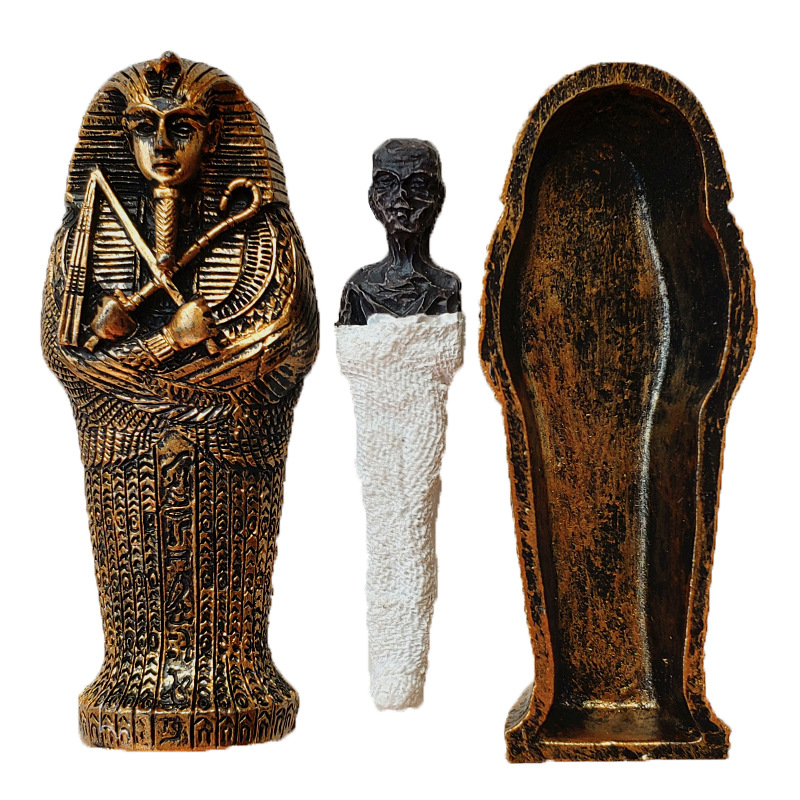 1pcs Resin Ancient Egyptian Coffin Figurine Sculpture Egypt Mummy Statue Small Ornaments Miniature Model Fish Tank Decoration7