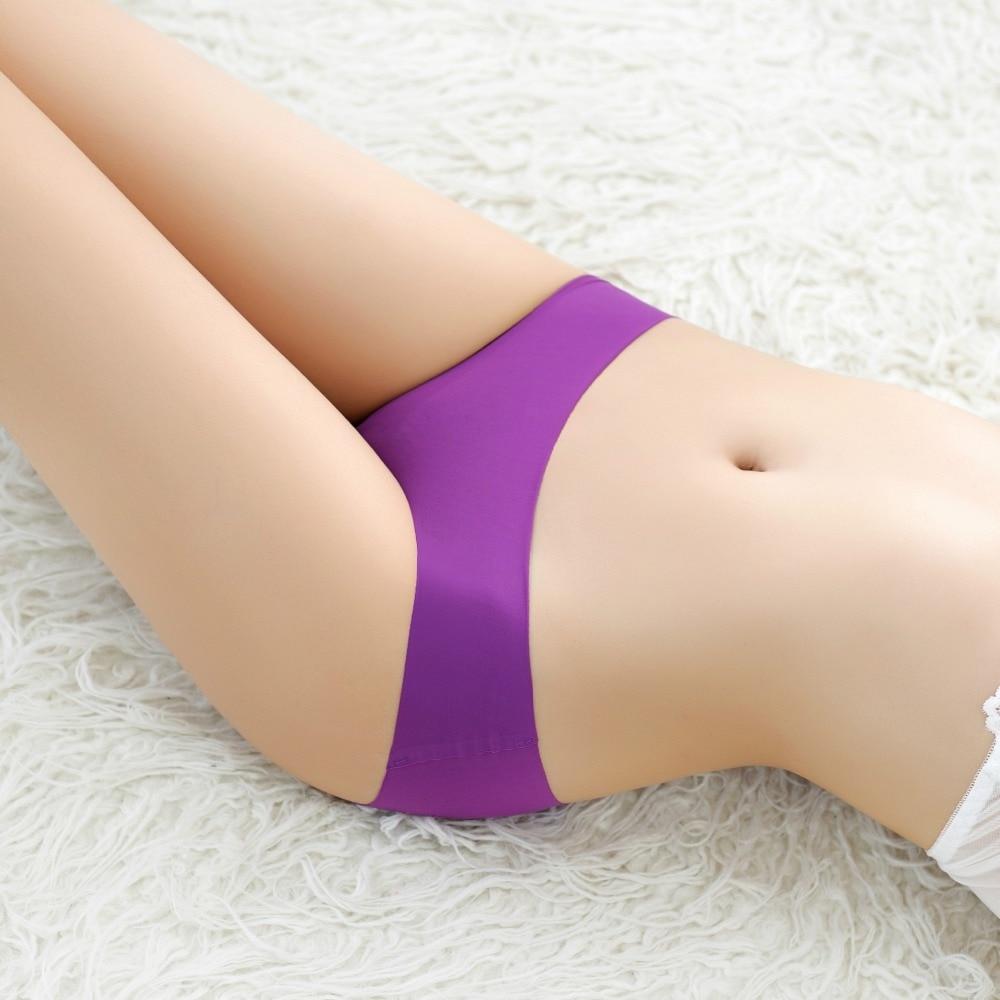 KJA212 A Piece Low Waist Women Underwear Female Sexy Ice Silk Lingerie Seamless Panties Ondergoed Dames Slips
