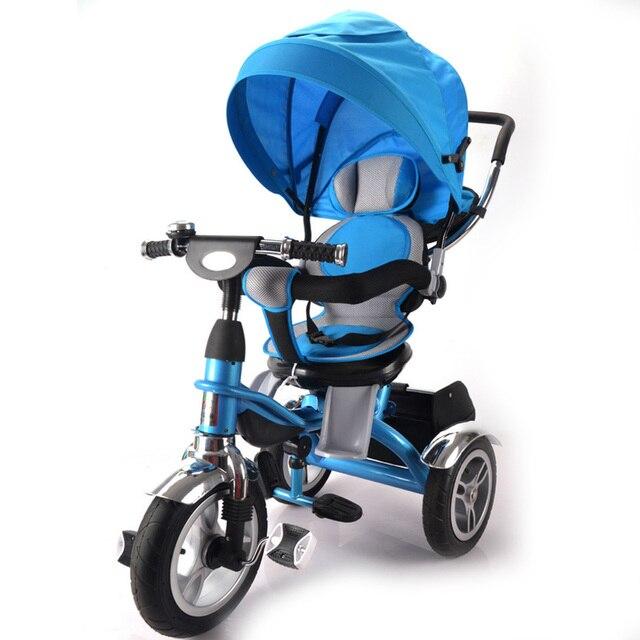 Младенческая Baby Роскошные Трехколесный Велосипед 360 Градусов Поворачивается Детская Тележка Велосипед с Навесы Регулируемые Коляски Дети Тренажер