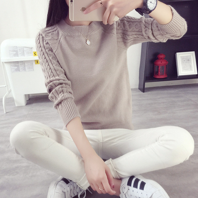 2016 new fashion women Autumn winter thick knitted shirt girls pullover sweater female long sleeve o-neck clothing basic tops