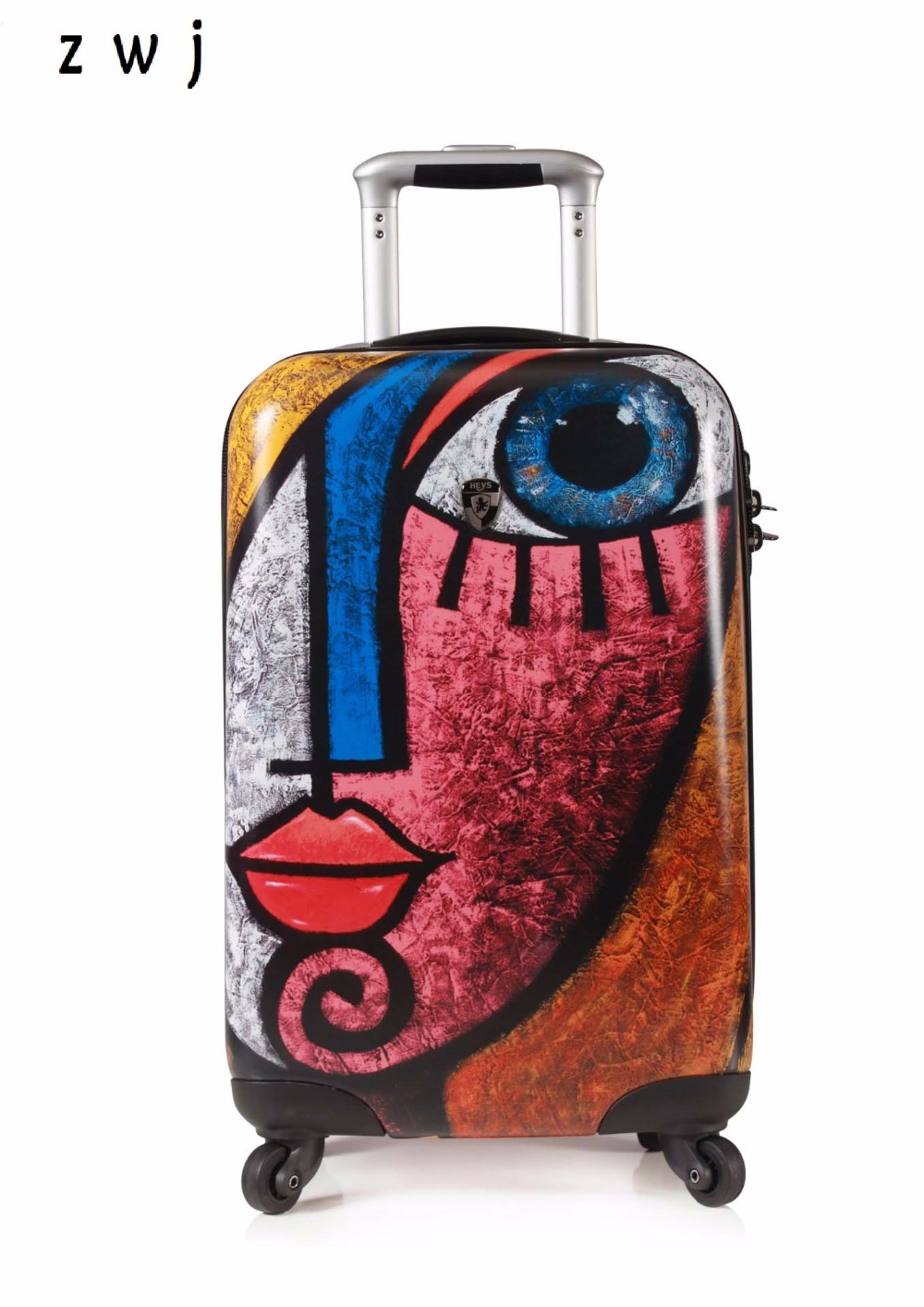 Brand trolley suitcases PC oil painting rolling luggage customs lock boarding box harside luggage