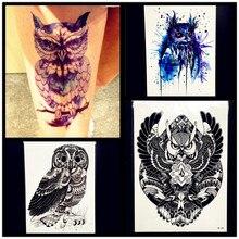 HOT Sexy Temporary Tattoo Owl Stickers Women Waterproof Henna Tattoo Paste 21x15CM Large Body ARt ARm Legs Fake Flash Tatoo Men