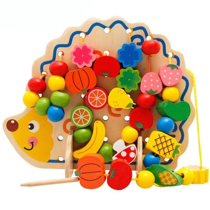 2017 New Wooden Fruit Beads Hedgehog Montessori Puzzle ...