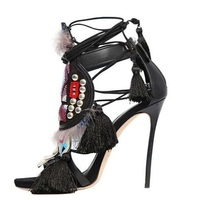 Ethnic Women High Heel Fringe Sandals Fur Tassel Ankle Wrap Lace up Dress Shoes Sexy Cut out Mixed Colors Summer Dress Shoes