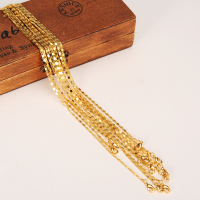 24k Fine Gold Filled select Girl Women/Men 12pcs/Lot assemble Length 50CM Wholesale Small Size Chain Thin Necklaces