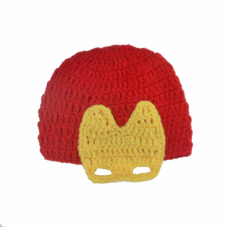 Crochet Iron Man Newborn Photography Props Knitted Baby Super Hero Costume Photo Prop for Photo Shoot Baby Accessories Hat
