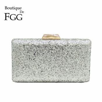 Boutique De FGG Classic Shiny Silver Glitter Women Evening Bags Square Box Clutch Purse Wedding Party Metal Clutches Handbag box clutch purse