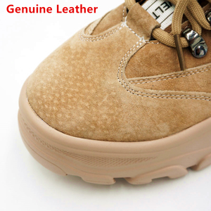 Image 3 - NEWDISCVRY אמיתי עור נשים של חורף מגפי קטיפה חם נשים פלטפורמת סניקרס 2020 אופנה Combat מגפי אישה נעליים