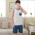Men's sleepwear vest cotton pajamas summer sleeveless fashion tracksuit suit loose plus size XXXXL men striped pajama set