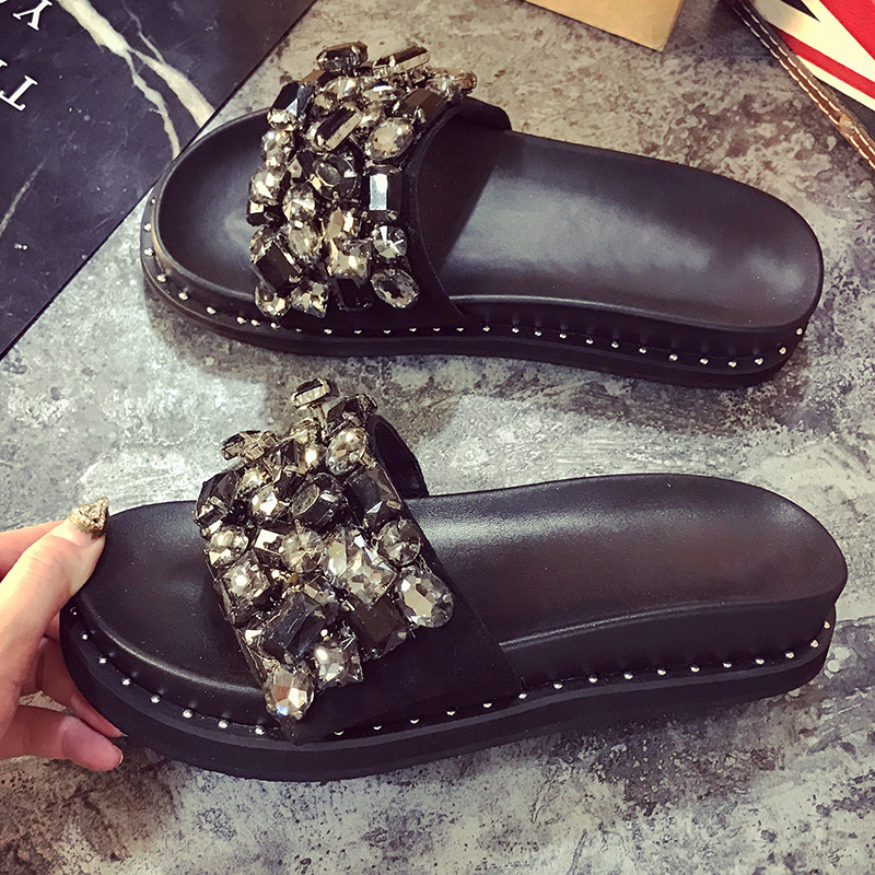 Crystal Slippers Women Summer Platform Shoes 2019 New Fashion Flat Slides Women Basic Slippers Black Ladies