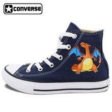 Blue Converse Chuck Taylor Men Women Shoes Pokemon Go Charizard Dragon Design Hand Painted Shoes High Top Canvas Shoes
