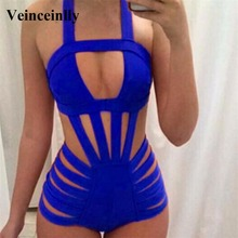 Blue Bather 2017 Black Blue Sexy Caged one piece swimsuit high waist swimwear women monokini bathing suit swim wear female Y518
