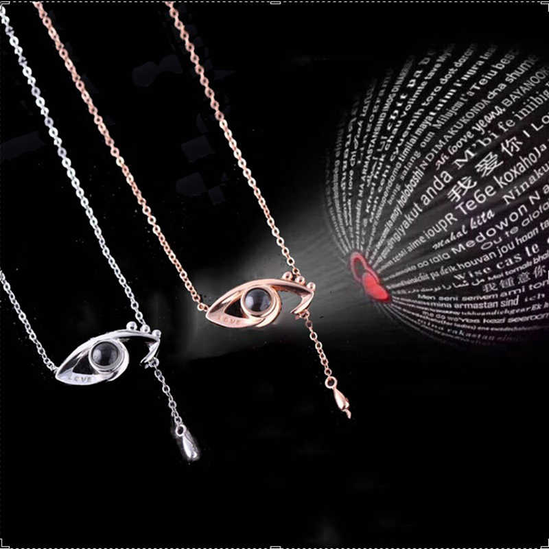 460b76098a New Shape 100 languages I love you Projection Pendant Necklace Women Say  love With Eyes Romantic