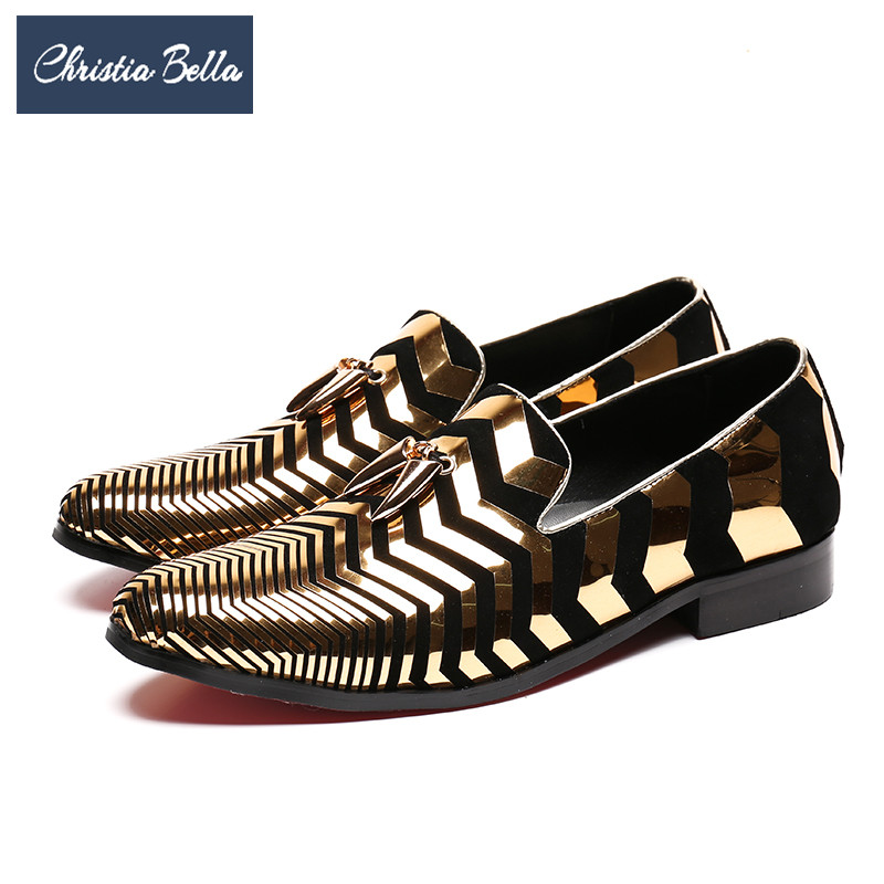 Christia Bella Gold Men Loafers Striped Genuine Leather Formal Shoes Party Wedding Dress Shoes Smoking Loafers Plus Size Flats 1 way 1 gang crystal glass panel smart touch light wall switch remote controller white black 160 250v ac favorable