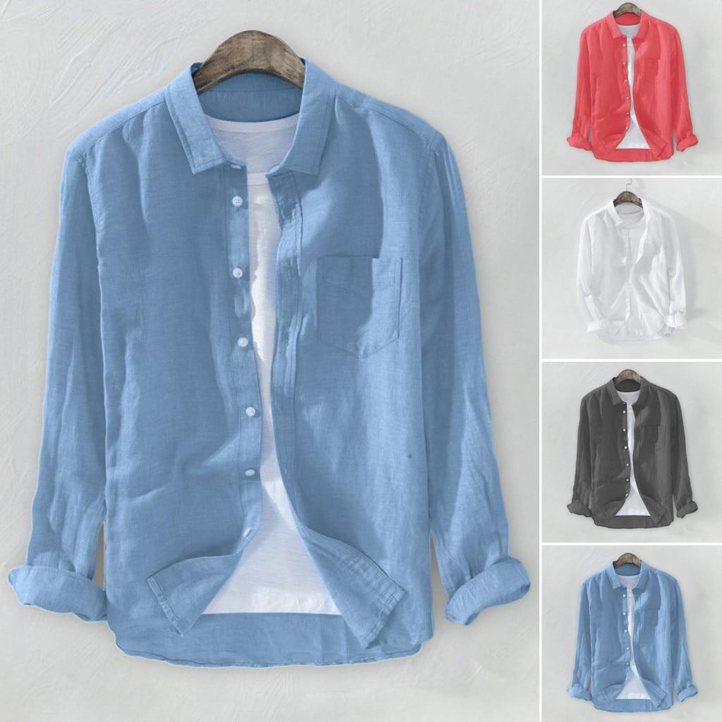 2019 Summer Plus Size Men's Baggy Solid Cotton Linen Long Sleeve Button Pocket Shirts M-3XL camisa masculina camisas hombre