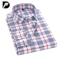 Camisa de los hombres Nueva Moda Camisas A Cuadros de Los Hombres Casuales Estilo Delgado Largo Camisa Social Camisa de Algodón Para Hombre Camisas de Vestir de manga Más El Tamaño M-5X