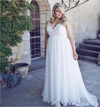 2019 Romantic V-Neck Plus Size Lace  Garden Cheap Chiffon Spring Train Large vestido de noiva Bridal Gown