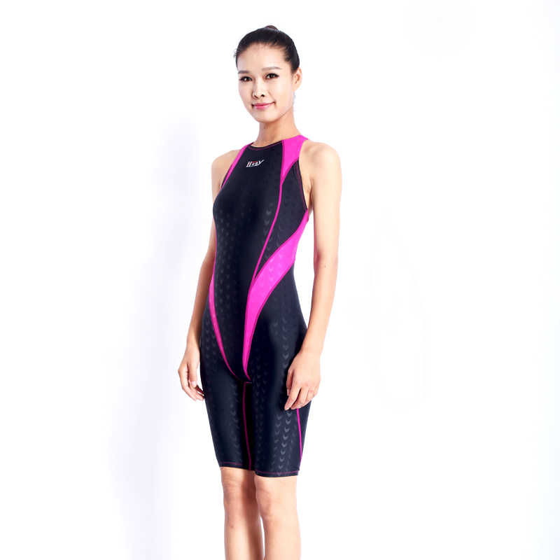 2020NEW!!! Hxby Baju Renang Anak Perempuan Balap Klor Tahan Pelatihan Profesional SHARP Bend Lutut Wanita Training Pakaian Renang