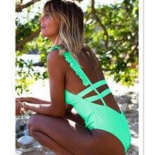 Funfeliz Backless Monokini Sexy One Piece Swim Suit Women Wear Ruffle Swimsuit for 2018 Female Bathing Suits