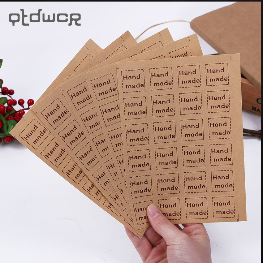 120PCS/lot Vintage Decoration Adhesive Stickers Quadrate Handmade Sticker Kraft Paper Sticker Christmas DIY Gift Label dhl self adhesive matte white a4 kraft paper square label library book shipping label print stickers fit laser inkjet printer