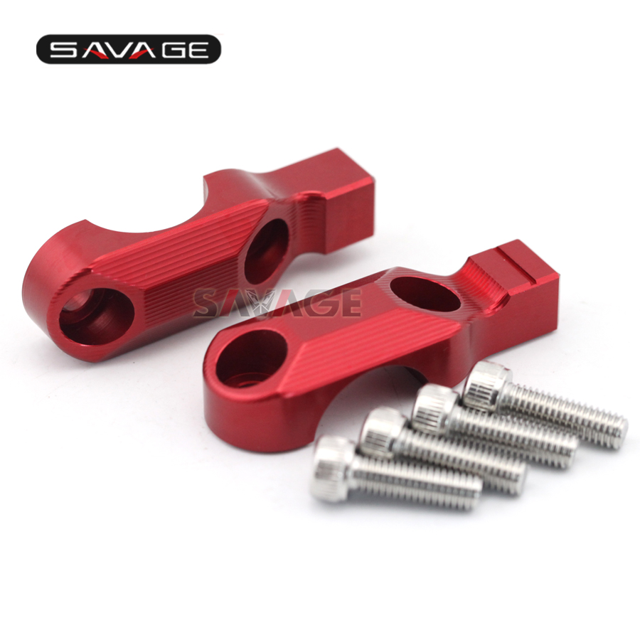 For DUCATI MONSTER 659/696/796/1100/S/EVO Motorcycle CNC Aluminum Handlebar Bar Clamp Cover with Mirror Adapter Red