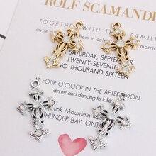 10pcs Crosses Charms DIY Jewelry Accessories Crosses Rhinestone Golden Alloy Pendant Bracelets Earring Floating YZ091