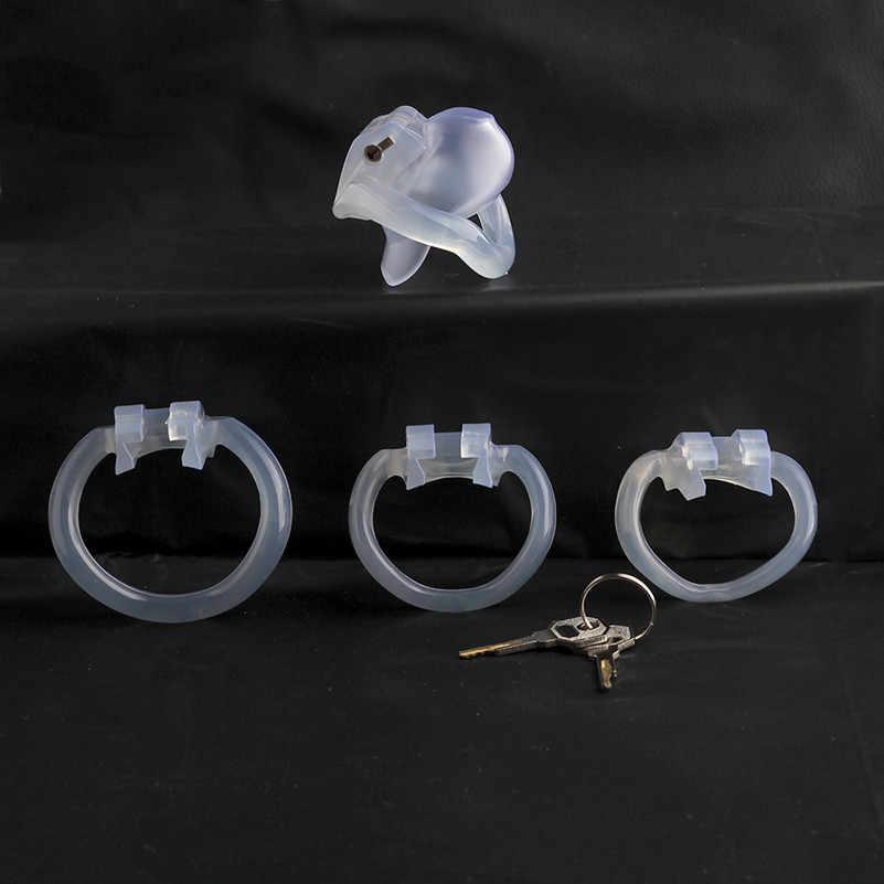 2019 nuevo dispositivo masculino de castidad del pene-V3 Nub jaula de castidad, Sissy BDSM fetiche hombres V3 jaula de pene de plástico con 4 anillos de pene