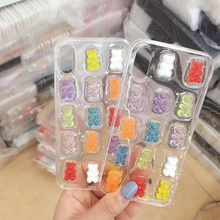 Fashion 3D Shiny Gummy Bear Phone Case For iphone X XS Max XR Transparent Candy Color Soft  Cover 6 6s 7 8 Plus