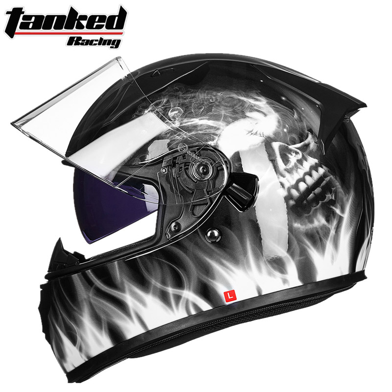 2017 Winter New Germay band Tanked Racing Full Face Motorcycle Helmets Double lens motorbike helmet made of ABS / PC Lens visor