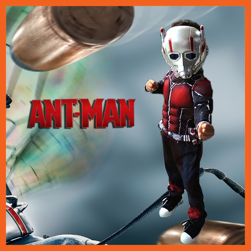 FACTORY DIRECT SELLING CHILD DELUXE ANT MAN MUSCLE COSTUME BOYS MARVEL NEW SUPERHERO COSPLAY HALLOWEEN FANCY DRESS FOR KID