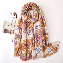 2019 New Cotton Vintage Paisley Print Fringe Scarves Shawl Trendy Long Floral Print Wrap Hijab Muffler Free Shipping недорого