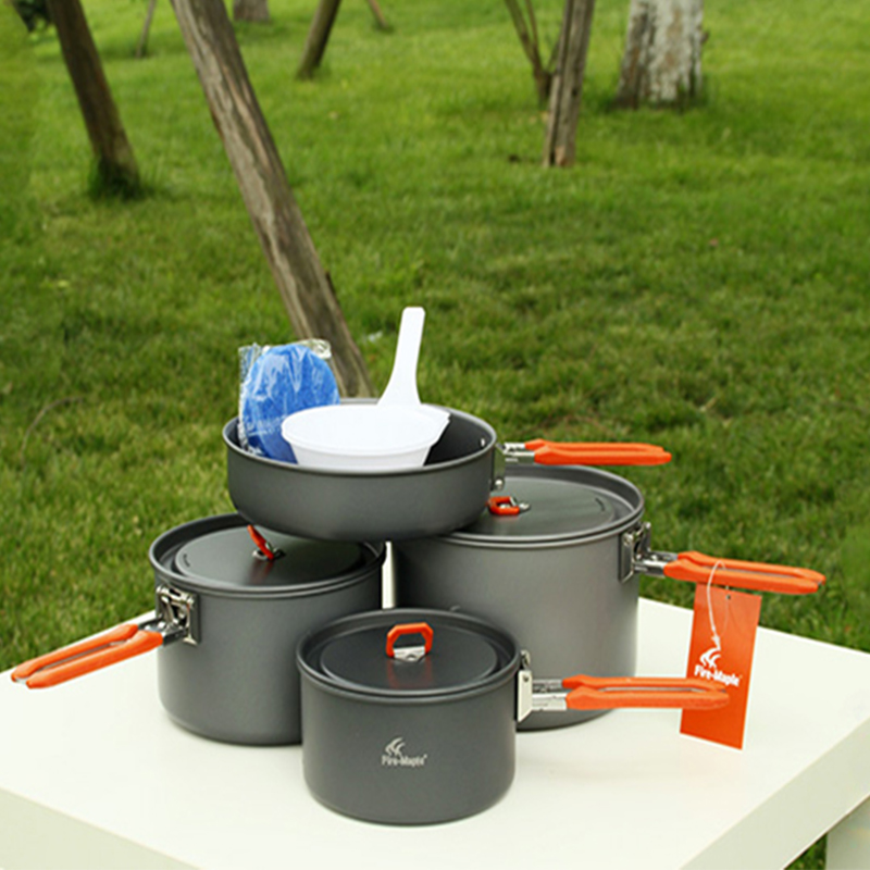 ФОТО Hot Sale Fire Maple Cookware Pot Set(3 Pot + 1 Pan) Aluminum Camping Picnic Suitable For 4-5 Person Team Picnic Cooking Feast-5