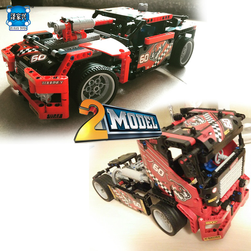 Bricolage course camion construction jouets pour enfants blocs briques jouet ensemble garçon voiture coureurs voiture cadeau Compatible avec Lepines modèle 3D