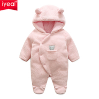 IYEAL Baby Clothes Flannel Baby Boy Outwear Cartoon Animal 3D Ears Romper Children Baby Girl Jumpsuit Warm Newborn Infant Romper