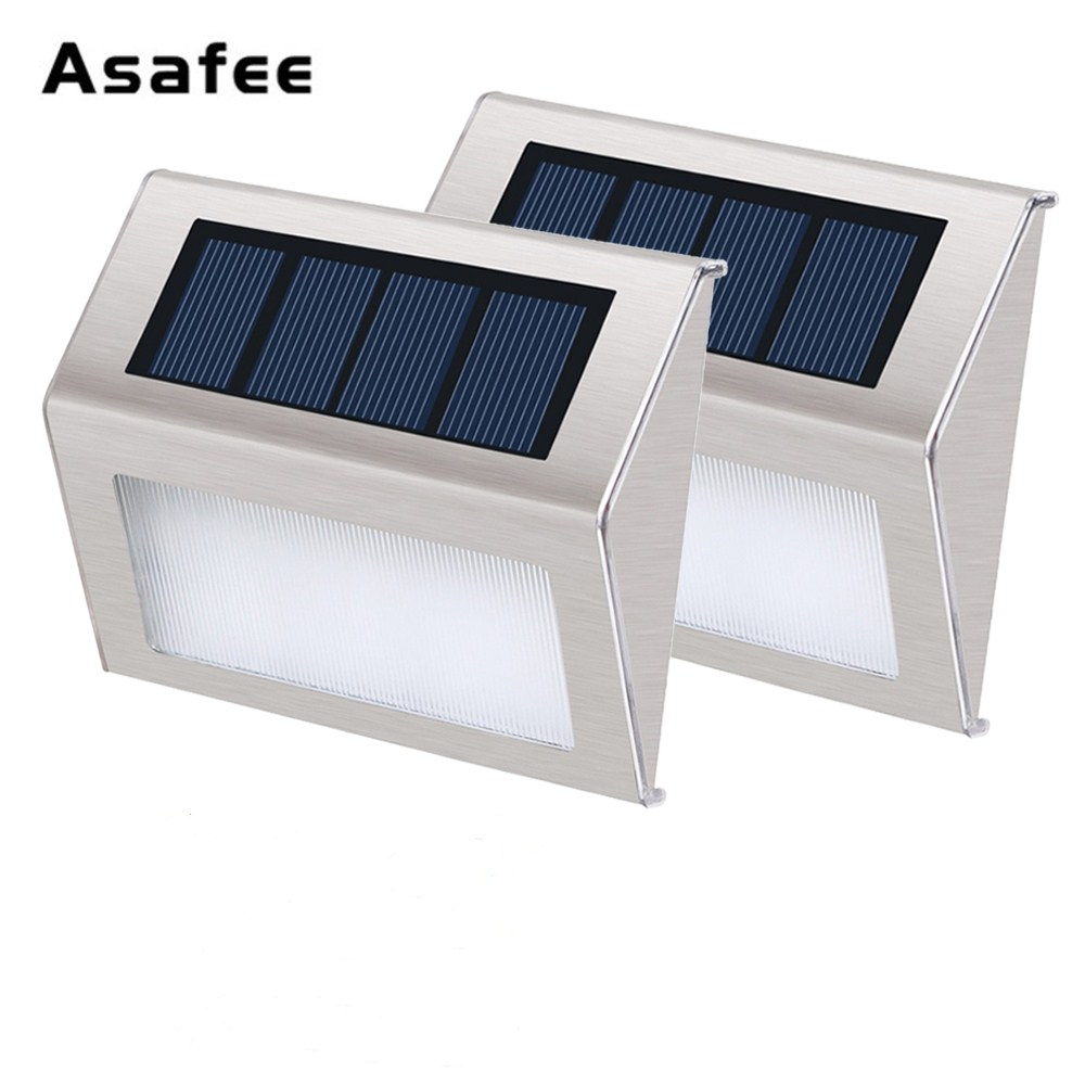 3 LED Stainless Steel Outdoor Waterproof Solar Lights Garden Pathway Stairs Lamp LED Lights Solar Panel Wall Lamp Stair Lighting