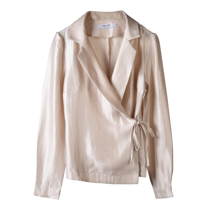 AEL Chiffon Shirts Ladies Casual 2019 Summer Loose Woman Top Knotted Closed Type Minimalism Blouse